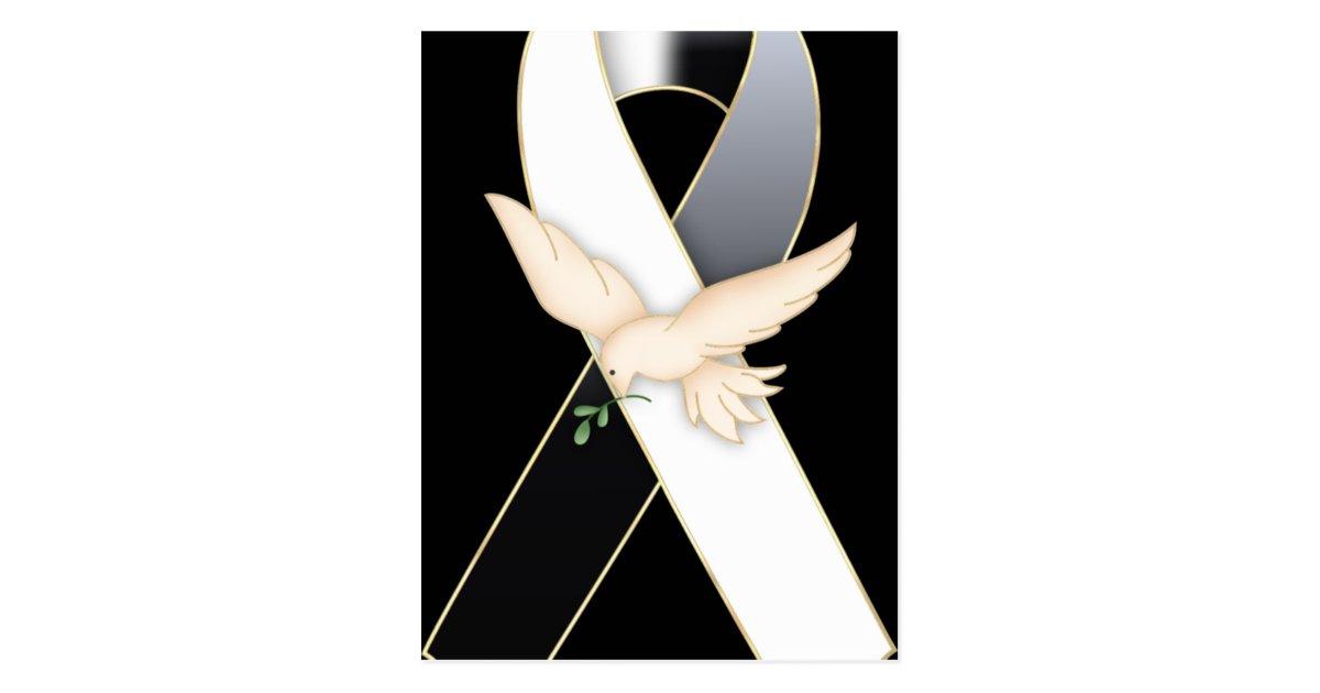 black  u0026 white with dove ribbon awareness postcards