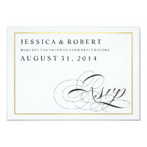 Black & White with Gold Wedding RSVP Card