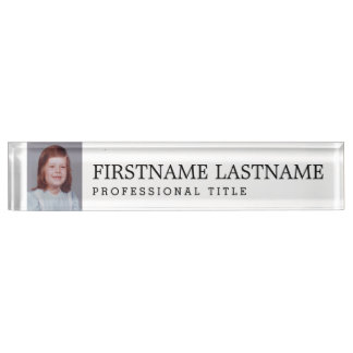 Black White with Name Professional Title and Photo Desk Name Plate