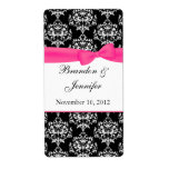Black & White with Pink Damask Mini Wine Labels
