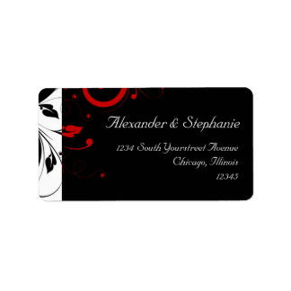 Black +White with Red Reverse Swirl Wedding Label