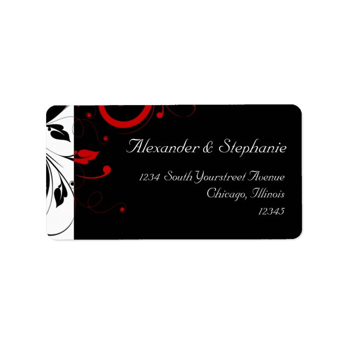 Black +White with Red Reverse Swirl Wedding Label