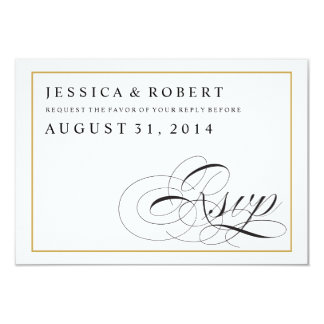 Black & White with Solid Gold Wedding RSVP Card