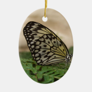 Black White with Yellow Hue Butterfly Ceramic Ornament