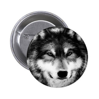 Black & White Wolf 2 Inch Round Button