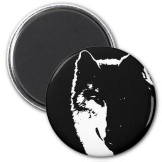Black & White Wolf 2 Inch Round Magnet