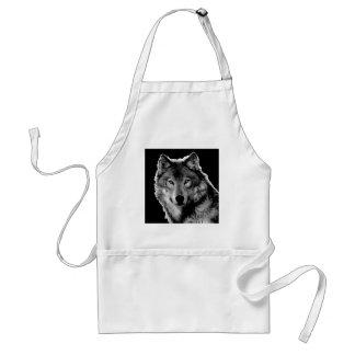 Black & White Wolf Artwork Adult Apron