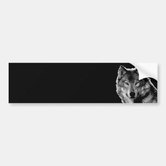 Black & White Wolf Artwork Bumper Sticker