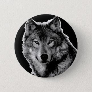 Black & White Wolf Artwork Button