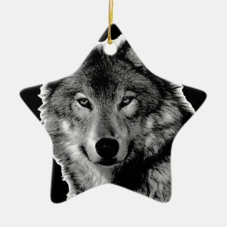 Black & White Wolf Artwork Ceramic Ornament