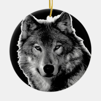 Black & White Wolf Artwork Ceramic Ornament