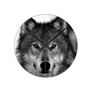Black & White Wolf Artwork Round Wallclock