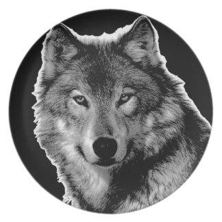 Black & White Wolf Artwork Dinner Plate
