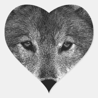 Black & White Wolf Artwork Heart Sticker