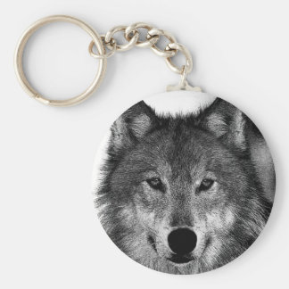 Black & White Wolf Artwork Keychain