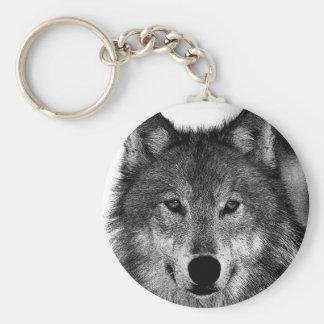 Black & White Wolf Artwork Basic Round Button Keychain