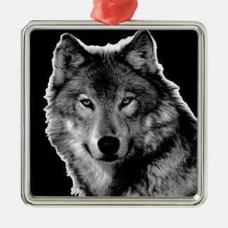 Black & White Wolf Artwork Metal Ornament