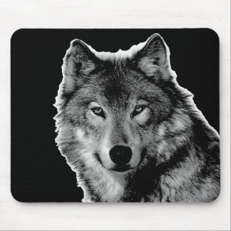 Black & White Wolf Artwork Mouse Pad