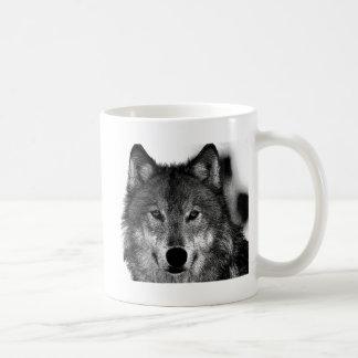 Black & White Wolf Artwork Classic White Coffee Mug