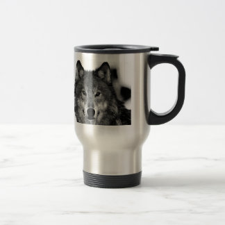 Black & White Wolf Artwork 15 Oz Stainless Steel Travel Mug