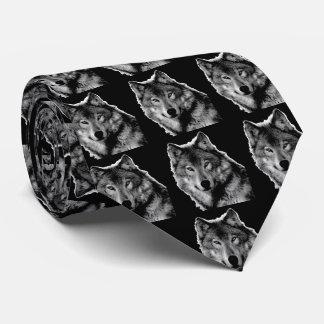 Black & White Wolf Artwork Neck Tie