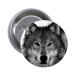 Black & White Wolf Artwork Pinback Button