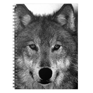 Black & White Wolf Artwork Spiral Notebook