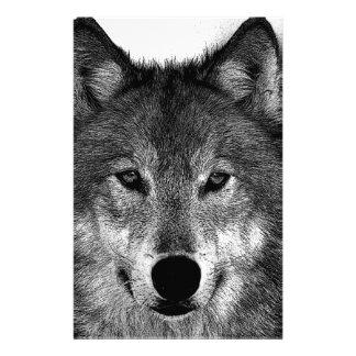 Black & White Wolf Artwork Stationery