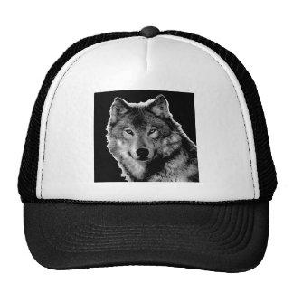 Black & White Wolf Artwork Trucker Hat