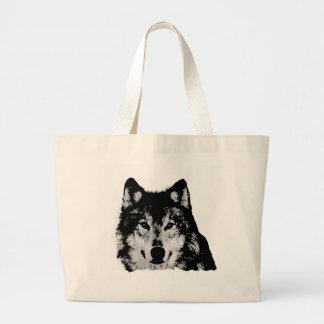 Black & White Wolf Tote Bag