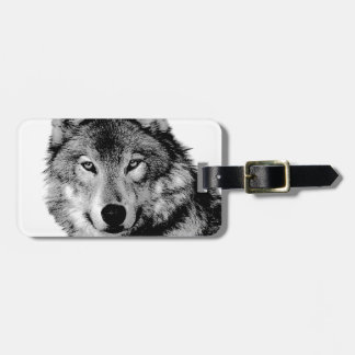 Black & White Wolf Bag Tag