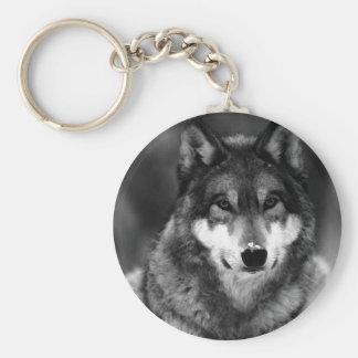 Black & White Wolf Basic Round Button Keychain