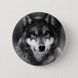 Black & White Wolf Button