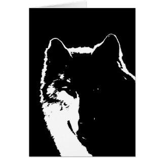 Black & White Wolf Card