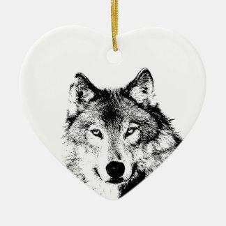 Black & White Wolf Ceramic Ornament