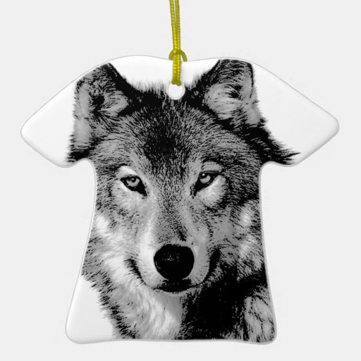 Black & White Wolf Christmas Ornaments