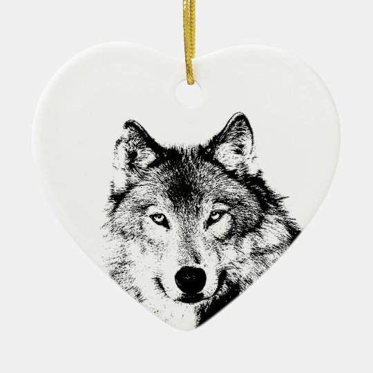 Black & White Wolf Christmas Tree Ornament | Zazzle.com