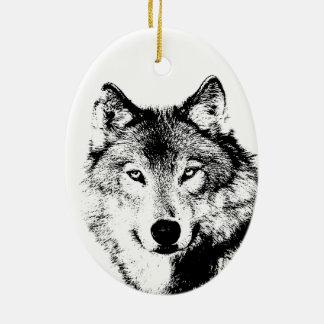 Black & White Wolf Christmas Tree Ornaments