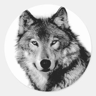 Black & White Wolf Classic Round Sticker