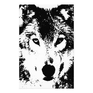 Black & White Wolf Custom Stationery
