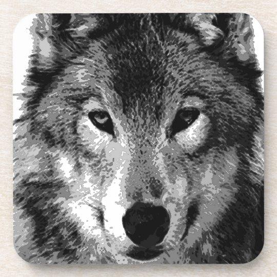Black & White Wolf Eyes Coaster