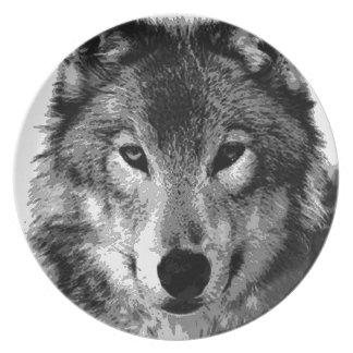 Black & White Wolf Eyes Dinner Plate
