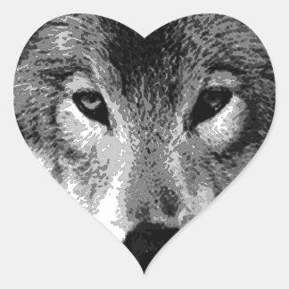 Black & White Wolf Eyes Heart Sticker