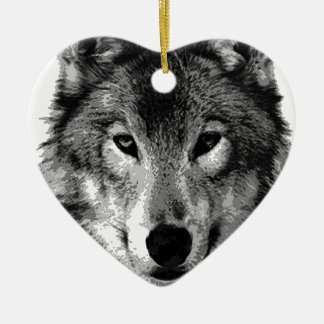 Black & White Wolf Eyes Double-Sided Heart Ceramic Christmas Ornament
