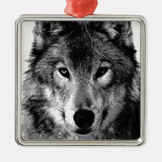 Black & White Wolf Eyes Square Metal Christmas Ornament