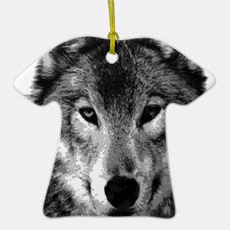 Black & White Wolf Eyes Double-Sided T-Shirt Ceramic Christmas Ornament