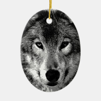 Black & White Wolf Eyes Double-Sided Oval Ceramic Christmas Ornament