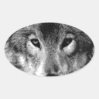 Black & White Wolf Eyes Oval Sticker
