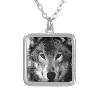 Black & White Wolf Eyes Silver Plated Necklace