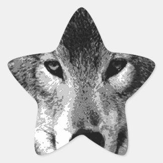 Black & White Wolf Eyes Star Sticker